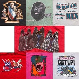 Lot of 7 vtg 80's/90's tee shirts minor flaws cool
